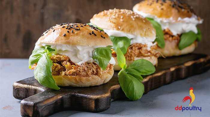 D&D Poultry Pulled Chicken Burger Recipe